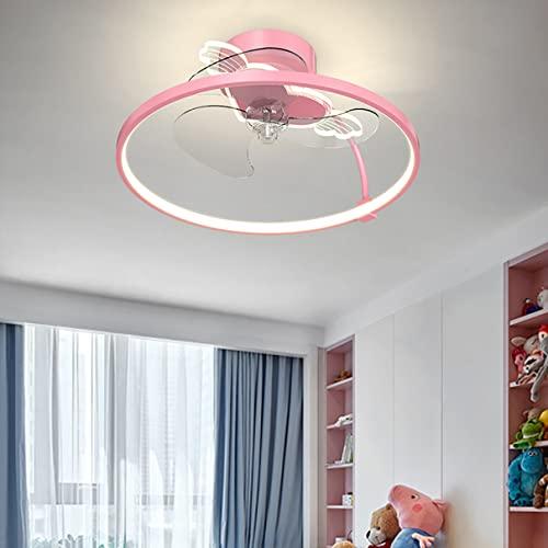 MYYINGBIN DC Deckenventilator Mit Beleuchtung Und Fernbedienung Led Deckenleuchte Mit Ventilator Deckenventilator Mit Licht Dimmbar Ventilator Lampe Decke Lampe Mit Ventilator 51CM*22CM 50W,Rosa