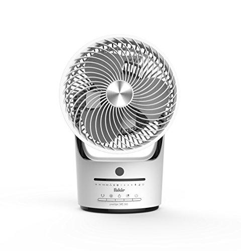 Fakir Prestige TVC 360 - Leiser Designer-Tischventilator mit Fernbedienung I Ventilator mit Timer-Funktion, vertikaler 90°-Oszillation, 3 Geschwindigkeitsstufen & 360-Grad-Belüftung I Weiß/Schwarz