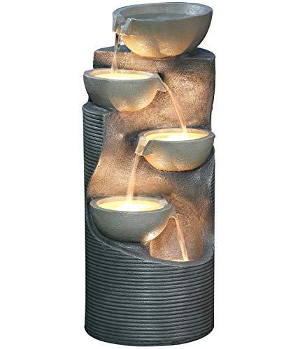 Dehner Gartenbrunnen Salo mit LED Beleuchtung, ca. 81 x 34 x 33 cm, Polyresin, grau