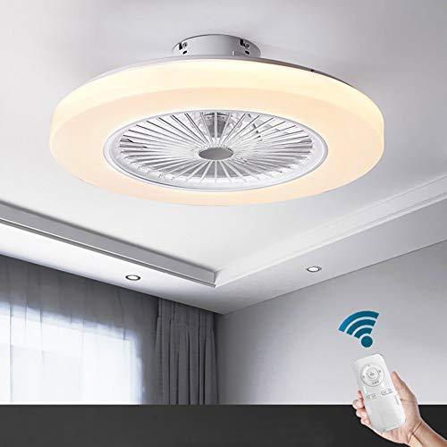 OUKANING Deckenventilator mit Beleuchtung 3-Stufiger Lüfter Schlafzimmer-Lampe Deckenleuchte 3-Farbtemperatur Dimmbar mit Fernbedienung Deckenlampe Weiß Rund Wohnzimmer Esszimmer Dekor Fanlampe
