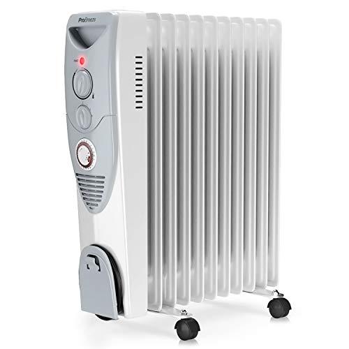 Pro Breeze 2500W Ölradiator energiesparend - Elektro Heizkörper mit 11 Rippen, integrierter Zeitschaltuhr, 3 Heizstufen, regulierbaren Thermostat und Sicherheitsabschaltfunktion
