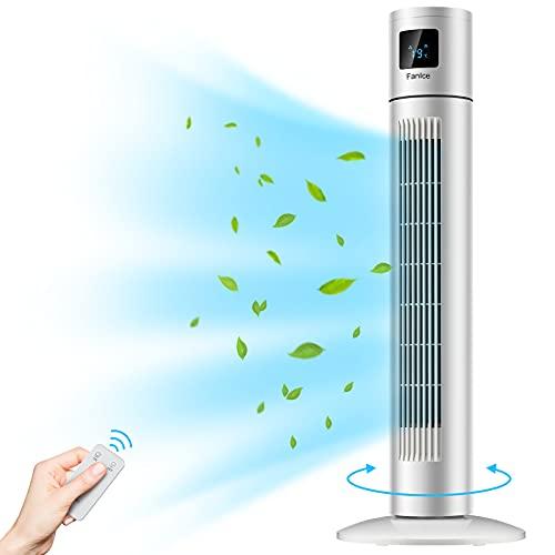 Ventilator Leise, Turmventilator mit Fernbedienung, Standventilator mit 12Std Timer, 90° Oszillation, 3 Geschwindigkeitsstufen, Säulenventilator mit LED-Anzeige, 45W 85cm Stabil Tower Fan