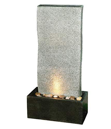 Dehner Gartenbrunnen Cliff mit LED Beleuchtung, ca. 97 x 49 x 49 cm, Polyresin, grau/schwarz