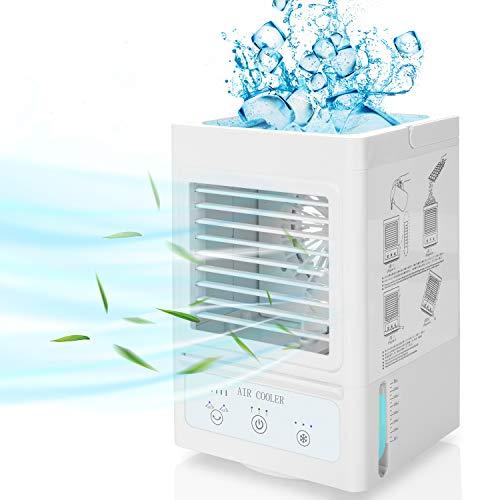 Air Cooler,COMLIFE 4 in 1 Mini Mobile Aircooler Fan mit 5000mAh Akku, Tragbares Air Cooler mit 3 Kühlstufen/Geschwindigkeiten, 60°/ 120°Auto Oszillation, Luftküler   Luftbefeuchter   Mini Lüfter