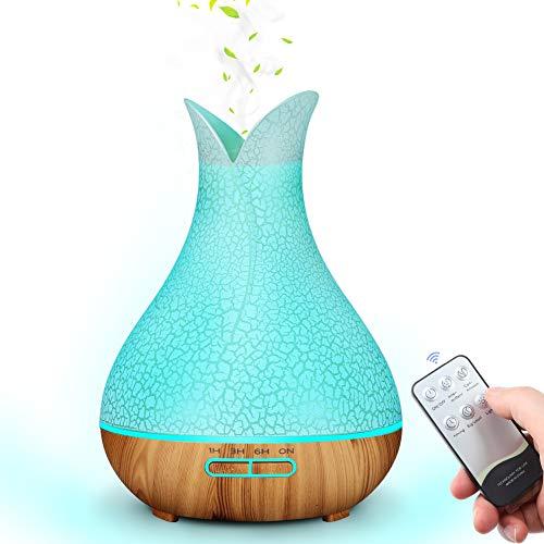 MANLI Aroma Diffuser Riss Diffusor Aromatherapie Luftbefeuchter Gefrorener holzmaserung 400ml Raumbefeuchter LED mit 7 Licht Farben Fernbedienung für Büro, Baby Zimmer, Yoga, Spa, Schlafzimmer (Blau)