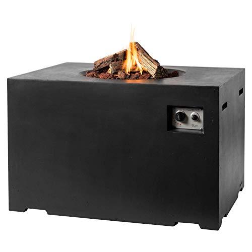 MANIA Feuertisch für den Garten - Gas Feuerstelle ohne Rauch, Funken, Glut & Asche - Gaskamin Outdoor mit 19,5 kW als Stehtisch in Betonoptik schwarz 107 x 80 x 67 cm - Gasfeuerstelle Terrassenkamin