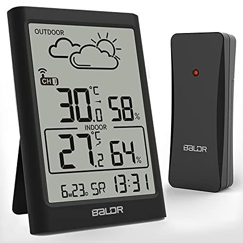 TEKFUN Wetterstation Funkuhr mit Außensensor, Digital DCF Funkuhr Thermometer Hygrometer Innen und Außen Raumthermometer Feuchtigkeit mit Wettervorhersage, Uhrzeitanzeige, Wecker und Nachtlicht