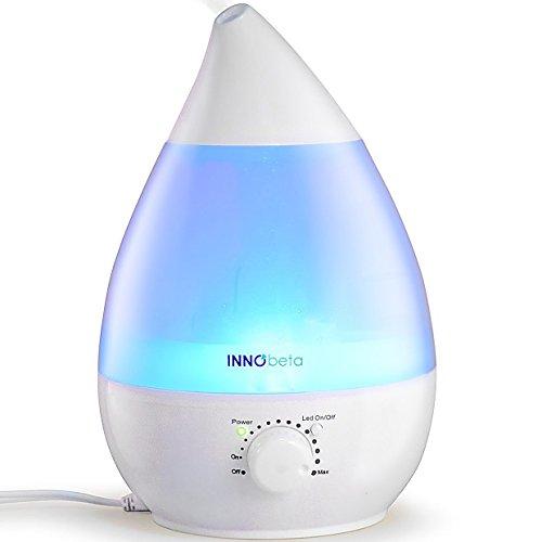 InnoBeta Waterdrop 2,4 Liter Ultraschall Luftbefeuchter Cool Mist mit Filter für Babys, Kinder, Die Ganze Nacht Hindurch, Leise, Automatische Ausschaltung,langlebig, 7-farbige LED-Lichter (bis 35m²)