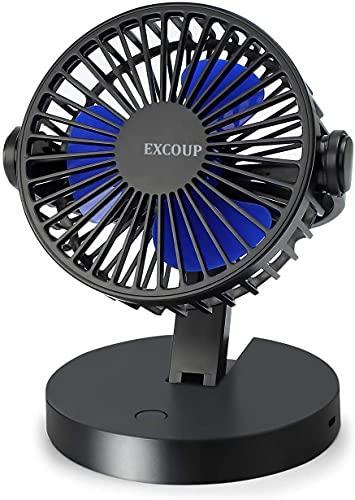 EXCOUP Ventilator USB, Mini Tragbarer Ventilator Faltbar Wiederaufladbarer handventilator mit 2500 mAh aufladbarer Akku 360° Drehung Leise Tischventilatoren Klein für Büro, Zuhause und im Freien