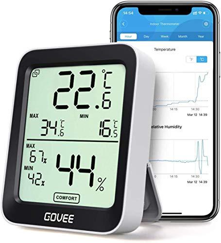 Govee Thermometer Hygrometer, Mini LCD Digital Thermometer Hygrometer Innen mit Benachrichtigungs Alarm, Präzise Hygrometer Temperatur mit APP, Datenspeicherung für Gewächshaus Weinkeller