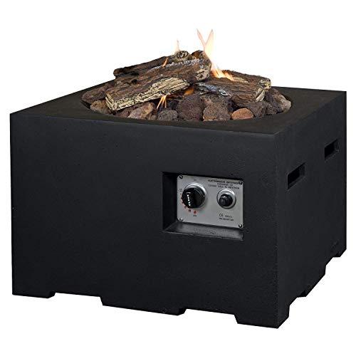 M A N I A Feuertisch für den Garten - Gas Feuerstelle ohne Rauch, Funken, Glut & Asche - Gaskamin Outdoor mit 12 kW in Betonoptik schwarz 60 x 60 x 40 cm - Gasfeuerstelle Terrassenkamin Kaminfeuer