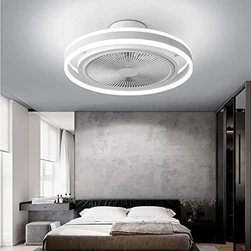 Deckenlampe Mit Ventilator LED Modern Mode Dimmbar Mit Fernbedienung Weiß Schwarz Lüfterlicht für Schlafzimmer Kinderzimmer Wohnzimmer Studie Restaurant (White)