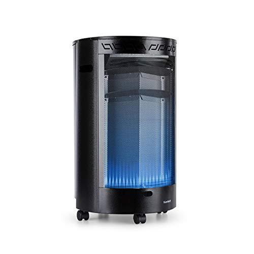 blumfeldt Bonaparte Fire - Gasheizgerät, 4200W, elektrische Zündung mit AAA-Batterie, für Gasflaschen bis 15 kg, Full Size Tank Cover, kindersicher, 4 Bodenrollen, Tragemulden, schwarz