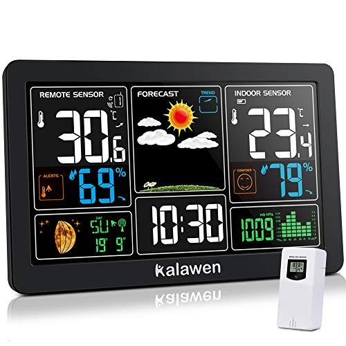 Kalawen Wetterstation mit Außensensor Innen und Außen 9-IN-1 Wireless Digital Wecker Barometer Weather Station Temperatur-Feuchtigkeits-Monitor Wettervorhersage für Zuhause Hausgarten Büro