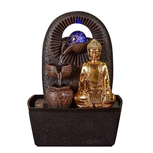 Zen Light – Zimmerbrunnen Buddha Bhava – Deko Zen und Feng Shui – originelles Geschenk – LED-Beleuchtung Mehrfarbig; Ablauf auf 3 Ebenen – L 20 x B 15 x H 25 cm – Braun Einheitsgröße