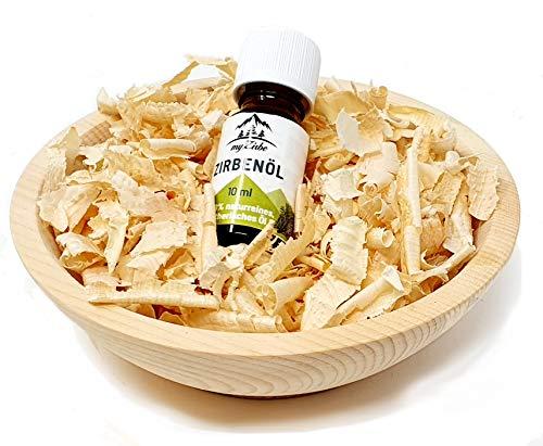 Zirben Duftset mit Zirbeholz Schale naturbelassen, Zirbenspäne aus 100% Alpen Zirbenholz und 10ml Zirbenöl