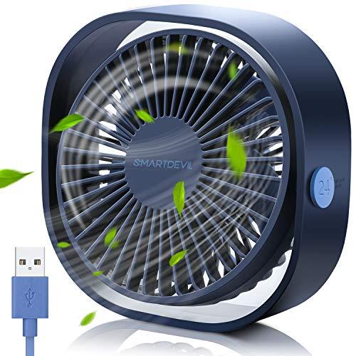 SmartDevil USB Ventilator, Mini Ventilator USB Tischventilator, Ventilator Klein Leise 3 Geschwindigkeiten, USB Desk Fan Geräuscharm, USB Fan Einfach zu Tragen, für Büro, Zuhause und im Freien(Blau)