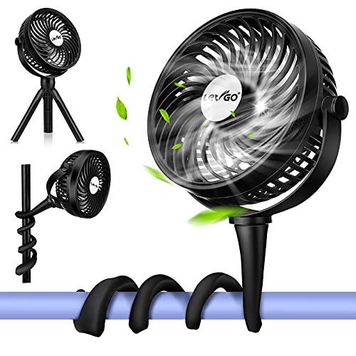 LETIGO Mini USB Ventilator, Leise Wiederaufladbarer Tischventilator mit 2600mAh Batterie, LED-Beleuchtung, 360 ° Drehbarer mini Fan, für Auto Schlafzimmer Büro Kinderwagen Camping