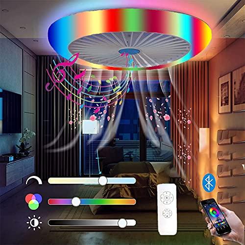 Flach Deckenventilatoren Mit Beleuchtung und Fernbedienung Dimmbar LED Deckenleuchte mit Ventilator RGB Deckenlampe Farbwechseln APP Bluetooth Lautsprecher Musik Fan 72W Deckenventilator Licht