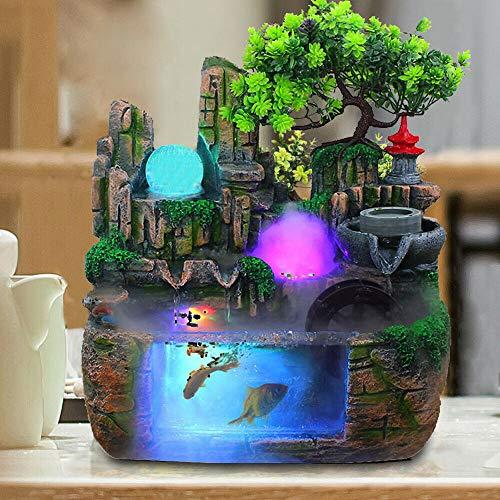 Desktop Brunnen Vernebler Luftbefeuchter Wasserpumpe Nebler Zimmerbrunne Dekor Wohnzimmer Meditation Garten Pflanze Zen Wasserfall Geschenk Raumdekoration,30 x 20 x 30cm