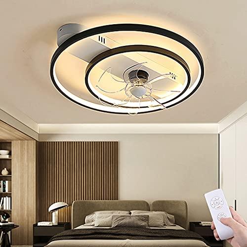 Deckenventilator Mit Beleuchtung Modern Dimmbar Fan Licht Einstellbare Windgeschwindigkeit Deckenventilatoren Lampe Schlafzimmer Wohnzimmer Babyzimmer Mit Fernbedienung Deckenleuchte (Black,45cm)