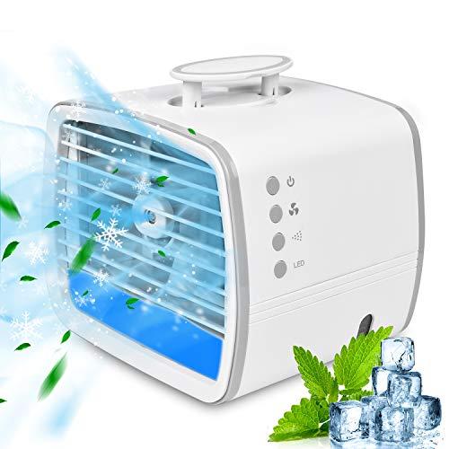 Mini Klimaanlage RIRGI 4 in 1 Mobile Klimageräte 480ML Air Cooler Klimagerät mit 3 Kühlstufen, 7 LED Licht, USB Tragbar Luftkühler mit Griffdesign für Zuhause und Büro