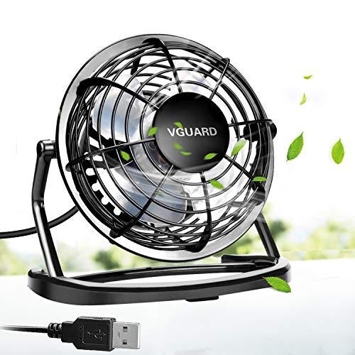 VGUARD USB Ventilator Mini Tischventilator 360° Drehung Neigbar Fan Super Leisem Kraftvoll Tragbarer Lüfter mit An/Ausschalter für PC MAC Notebook, Büro zu Hause Schule - 4 Zoll Schwarz