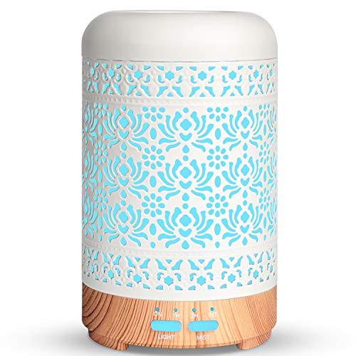 Salking Aroma Diffuser, Metall Diffusor für Ätherische Öle, BPA-Free Aromatherapie Diffusor mit Einstellbarem Nebelmodus, Automatisch Power-Off Duftlampe für Zuhause Büro Yoga