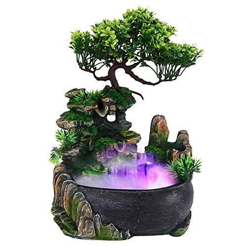 Zimmerbrunnen Tischbrunnen Zimmerbrunnen mit Beleuchtung Nebel Pflanzen LED Zimmerbrunnen Wasserfall Desktop Brunnen mit Farbwechsel Simulation Steingarten Luftbefeuchter Dekor