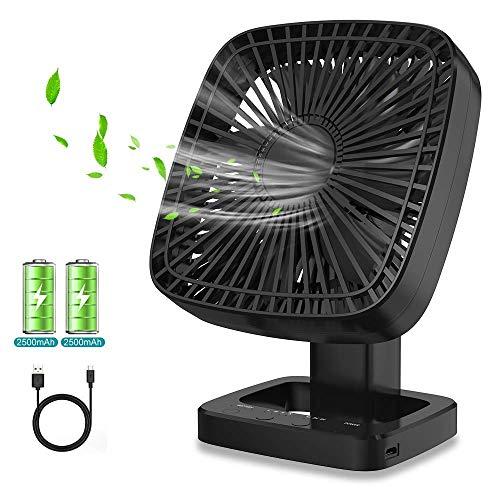 Himylife Mini Ventilator, Tischventilatoren mit Leistungsstarker 5000 mAh Akku, USB-Aufladung, 4 Geschwindigkeiten, mit Timing-Funktion & Batterieanzeige, Ideal für Zuhause, Büro, Camping, Reisen