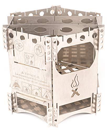 WIKA Hobo Kocher FlexFire 6 mobiler Camping Ofen, Outdoor Kocher Grill für Bushcraft Angeln Wandern Reisen Familien V4A Edelstahl Premium Esbit Trangia Gas Kocher für Jedermann