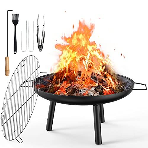 Aiglam Feuerschale, Feuerstelle 60cm Feuerschalen für den Garten mit Grillplatte Für Heizung/BBQ Holzofen Feuerkorb & Grill Für Garten Camping Picknick