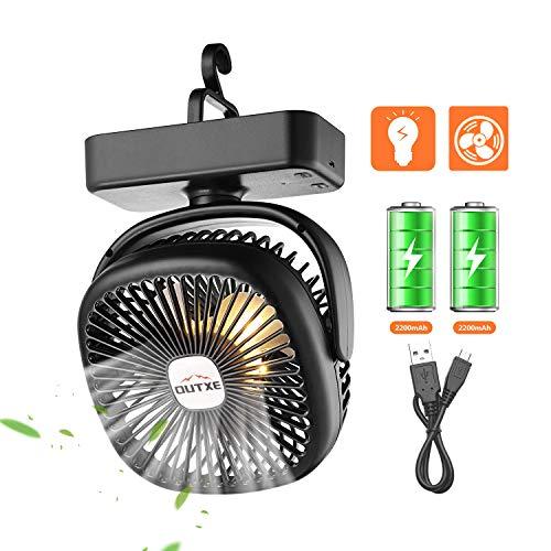 OUTXE Camping Ventilator mit Nachtlicht für Zelte USB Ventilator mit 4400mAh Wiederaufladbarer Batterie