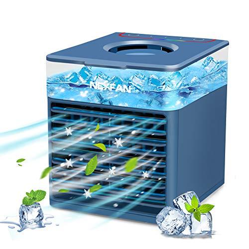 Mini Klimaanlage Klein Mobile Klimageräte,4 In 1 Persönlicher Luftkühler,Luftbefeuchter Wasserkühlung Ventilator mit Nachtlicht,3 Geschwindigkeiten,7 Farben LEDlichtern Air Cooler für Zuhause und Büro