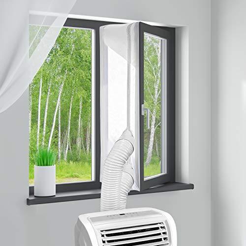 MYCARBON Fensterabdichtung für mobile Klimageräte 400cm ohne Bohren klimaanlage fensterabdichtung für Wäschetrockner Ablufttrockner AirLock zum Anbringen an Drehfenster Drehkippfenster Kippfenster