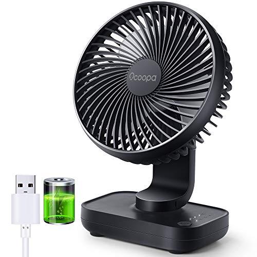 OCOOPA USB Ventilator Ultra Leise - 4000mAh Tischventilator, 4 Geschwindigkeiten, Mini Ventilator für den Schreibtisch, Zuhause und Büro, Schwarz