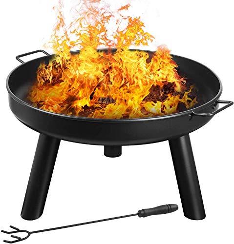 femor Feuerschale Ø60cm mit Griffen, Abnehmbar Metall Feuerkorb mit Feuergabel, Terrasse Garten Multifunktional Fire Pit für Heizung/BBQ mit Kleinem Gerät zu Installieren