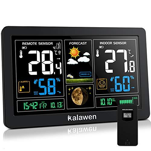 Kalawen Wetterstation mit Außensensor Funk 9-IN-1 Farbdisplay Digital Funkwetterstation DCF-Funkuhr Thermometer Hygrometer Regenmesser und Uhrzeit Anzeige für Zuhause Büro Hausgarten