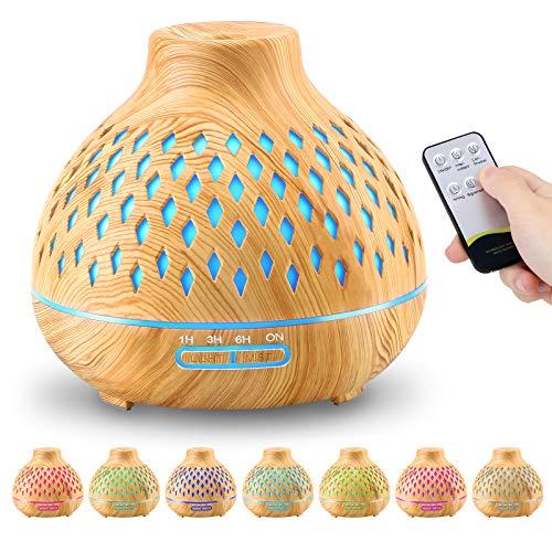 FRECOO Aroma Diffuser, 400ml Ultraschall Leise Luftbefeuchter, BPA-Free Aromatherapie Diffusor Ätherische Öle Luftbefeuchter mit 7 Farben LED für zuhause, Yoga ,Büro Spa Schlafzimmer