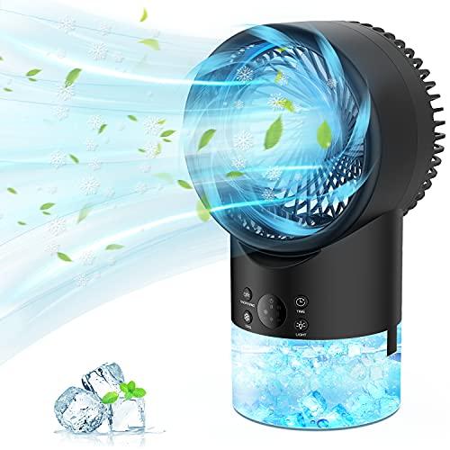 PATISZON Mobile Klimageräte, Klimaanlage Mobil Air Cooler Luftkühler mit Wasserkühlung Ventilator für Büro und Zuhause, 3 Stufen, 420ML Wassertank, 7 Farben Nachtlicht Tischklimaanlage Tragbar