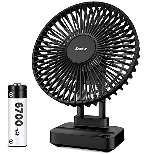 EasyAcc Tischventilator Akku,6700mAh Ventilator Batterie USB Tragbarer Leise Luftzirkulation Starker Lüfter 3 Einstellbare 90 ° 5.5-23H Einstellbarkeit Desktop Fan für Schreibtisch, Zuhause, Büro