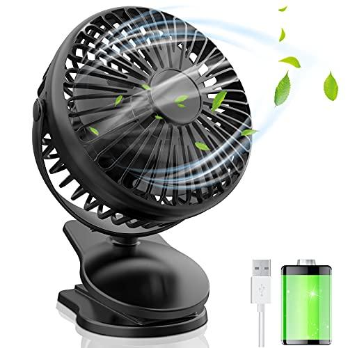 Mini Ventilator Batterie Wiederaufladbare 5000mAh,Tischventilator USB Clip Fan Sehr Leise,Kleiner lüfter Akku 720° Verstellbar,Clipventilator für Büro,Schlafzimmer,Autom,Camping und Kinderwagen