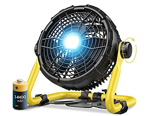 Bodenventilator Kraftvoll, Metall Leise Windmaschine mit 14400mAh Powerbank, Indoor/Outdoor Tischventilator Luftkühler, 360° verstellbare Neigungswinkel, Frei-einstellbar Laufgeschwindigkeiten