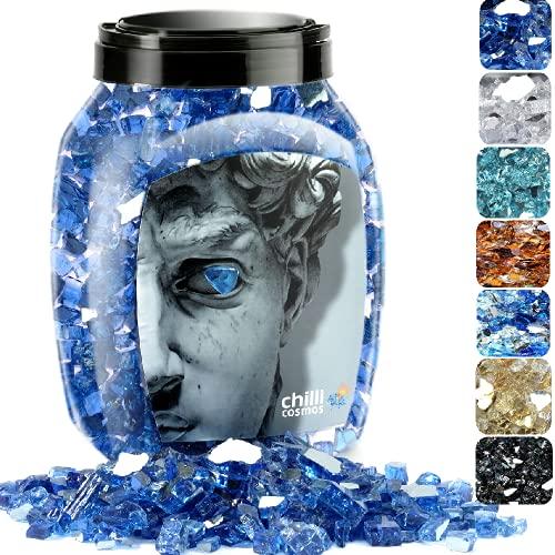 Chilli Cosmos Feuerglas, 1,27 cm, hochglänzend, reflektierend, gehärtetes Glas, für Gas-Feuerstelle oder Propan-Kamin, 4,5 kg 1/2 Inch kobaltblau