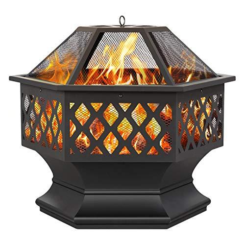 Yaheetech Feuerstelle Seckskant, Feuerschale mit Funkenschutzdeckel, Feuerkorb Garten Outdoor Fire Pit geeignet für Reise, Party, Camping oder Heizung