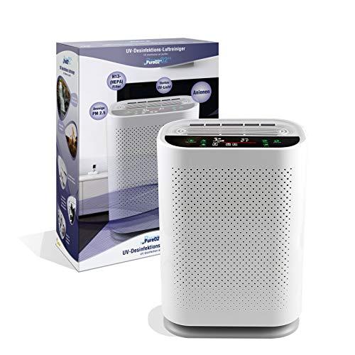 LEICKE UV Desinfektions Luftreiniger PureO2 mit Luftqualitätsmesser   Smart Air Purifier mit 4-in-1 HEPA Filtersystem und UVC Lampe   entfernt bis zu 99,9% der Viren, Aerosole und Schadstoffe
