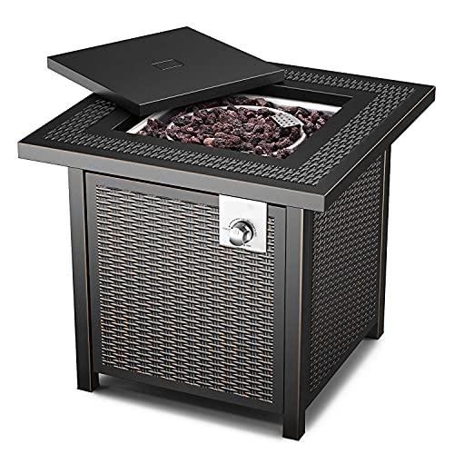 14.6KW Gas-Feuerstelle Tisch, 71cm×71cm×64cm, Stahloberfläche Outdoor-Feuertisch mit dauerhafter Abdeckung, EIN Großer Partner für Ihre Familie, Moderner Stil