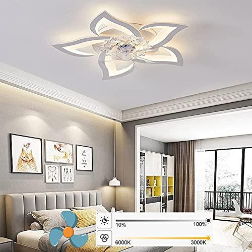 LED Deckenventilatoren mit Beleuchtung 50W Dimmbare Deckenleuchte, Deckenventilator Lampe mit Fernbedienung für Wohnzimmer Schlafzimmer Kinderzimmer Leise Fan Licht Weiß Deckenlampe (5P/Design 1)