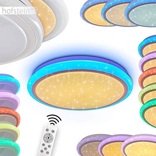 LED Deckenleuchte Bermeo, dimmbares Panel aus Metall in Weiß, mit Nachtlichtfunktion u. leuchtender Umrandung, 32 Watt, 3000-6400 Kelvin, RGB Farbwechsler u. Fernbedienung, Sternenhimmel-Effekt