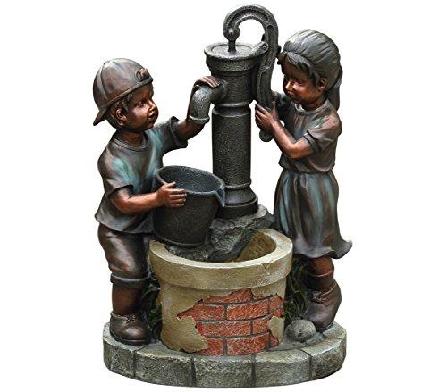 Dehner Gartenbrunnen Kim & Tim mit LED Beleuchtung, ca. 61 x 45 x 29.5 cm, Polyresin, bronze/petrol